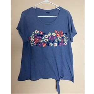 Kaari Blue Embroidered twisted side T-shirt